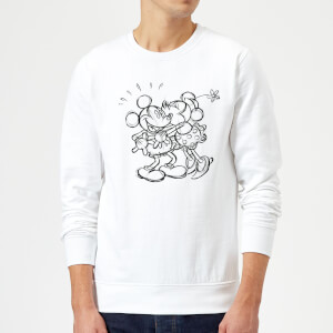 Sweat Homme Croquis Bisou Mickey & Minnie Mouse (Disney) - Blanc