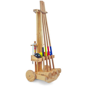 BEX 4 Mallet Original Croquet Set with Wooden Storage Trolley
