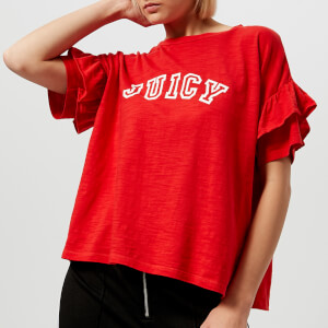 Juicy Couture Women's Juicy Logo Ruffle Sleeve Graphic T-Shirt - Red
