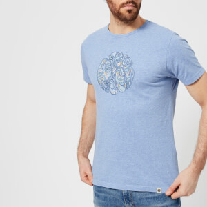Pretty Green Men's Portside Paisley Logo T-Shirt - Blue