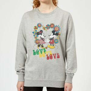 Disney Mickey Mouse Hippie Love Women's Sweatshirt - Grey