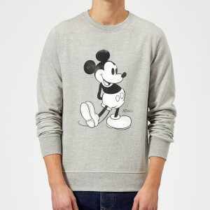 Disney Mickey Mouse Classic Kick Black And White Sweatshirt - Grey