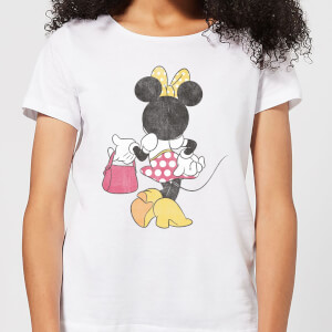 Disney Mickey Mouse Minnie Mouse Back Pose Frauen T-Shirt - Weiß
