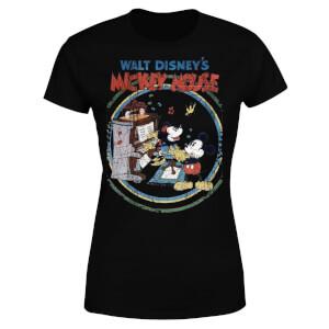 Disney Mickey Mouse Retro Poster Piano Women's T-Shirt - Black