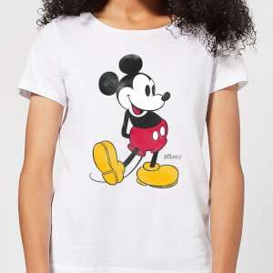 Disney Mickey Mouse Classic Kick Kleur Dames T-shirt - Wit