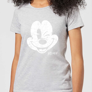 Disney Mickey Mouse Worn Face Frauen T-Shirt - Grau