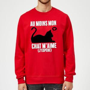 Sweat Homme Au Moins Mon Chat M'aime (J'espère) - Rouge