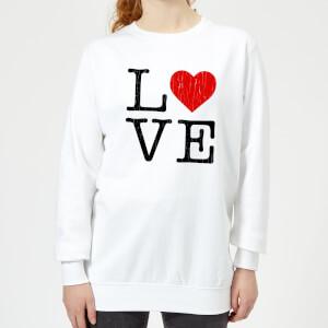 Sweat Femme Love Cœur Texturé - Blanc