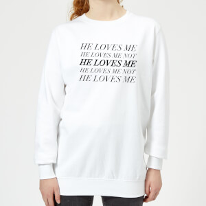 He Loves Me, He Loves Me Not Women's Sweatshirt - White