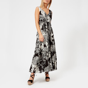 See By Chloe Women's Palm Print Maxi Dress - Black/White