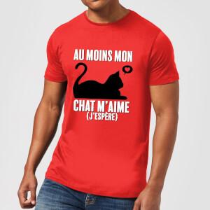 T-Shirt Homme Au Moins Mon Chat M'aime (J'espère) - Rouge