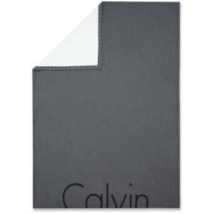Calvin Klein Cropped Logo Throw - Charcoal - 122 x 177cm