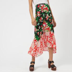 RIXO London Women's Leandra Midi Skirt with Dipped Hem - Mixed 30S Bunch Floral