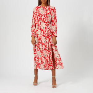 RIXO London Women's Chrissy Round Neck Midi Dress with Pleated Skirt and Cuff Sleeves - 30S Bunch Floral/Red