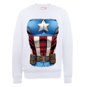 Marvel Avengers Assemble Captain America Chest Sweatshirt - White
