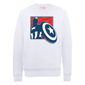 Marvel Avengers Assemble Captain America Badge Outline Sweatshirt - White