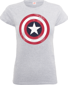Marvel Avengers Assemble Captain America Distressed Shield Dames T-shirt - Grijs