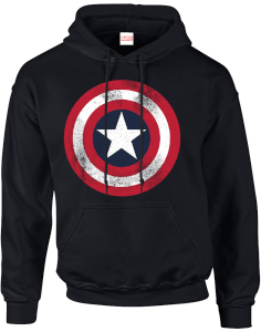 Felpa con cappuccio Marvel Avengers Assemble Captain America Distressed Shield Pullover - Nero