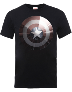 Marvel Avengers Assemble Captain America Shield Shiny T-Shirt - Black