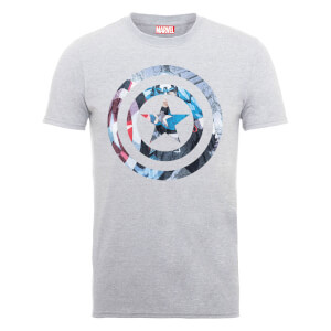 T-Shirt Marvel Avengers Assemble Captain America Shield Montage - Grigio