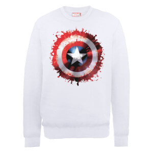 Sweat Homme Marvel Avengers Assemble - Captain America Art Bouclier - Blanc