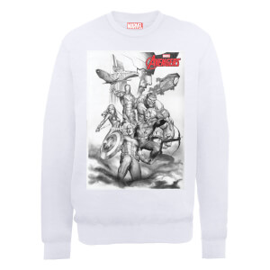 Marvel Avengers Assemble Team Sketch Sweatshirt - White
