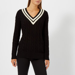 Polo Ralph Lauren Women's Cricket Long Sleeve Sweatshirt - Black/Cream