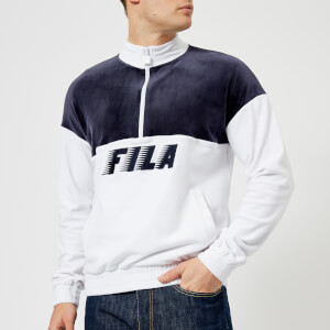 FILA Men's Easton Velour Half Zip Pullover - White/Navy