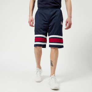 FILA Men's Parker Stripe Detail Mesh Long Shorts - Navy/Red