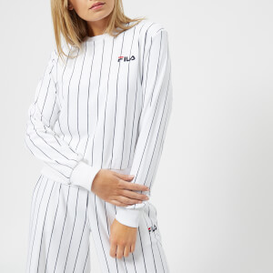 FILA Women's Stretch Velour Pinstripe Sweater - White