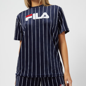 FILA Women's Stretch Velour Pinstripe T-Shirt - Navy/White
