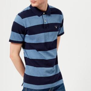 GANT Men's Barstripe Pique Polo Shirt - Denim Blue Melange