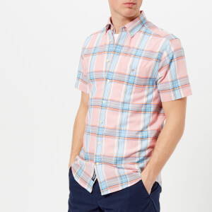 GANT Men's Indian Madras Short Sleeve Shirt - Strawberry Pink