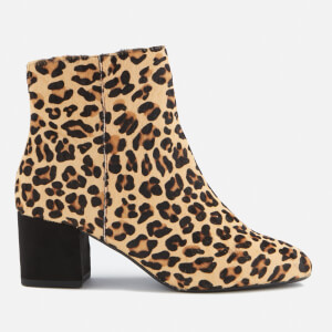 Dune Women's Olyvea Suede Heeled Ankle Boots - Leopard