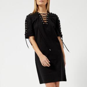 McQ Alexander McQueen Women's Laced T-Shirt Dress - Darkest Black