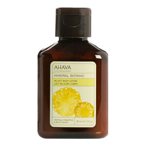 AHAVA Mineral Botanic Velvet Body Lotion - Tropical Pineapple and White Peach 85ml (Free Gift)