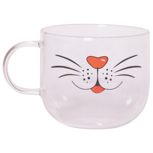 Animal Face Glass Mugs - Cat