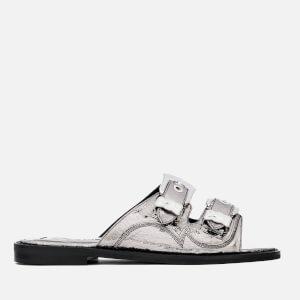 McQ Alexander McQueen Women's Moon Buckle Slide Sandals - Silver