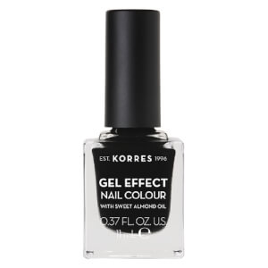 KORRES Gel-Effect Sweet Almond Nail Colour - 100 Black 11ml
