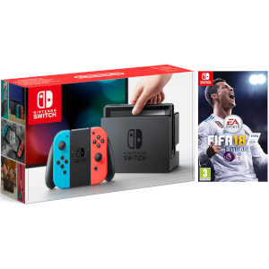 Nintendo Switch Console With Neon Red/Neon Blue Joy-Con – Includes Fifa 18