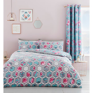 Catherine Lansfield Hexagon Floral Duvet Set - Teal