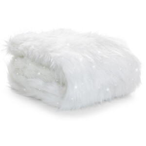 Catherine Lansfield Metallic Fur Throw - Polar - 130 x 170cm