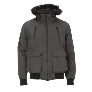 Brave Soul Men's Bradshaw Padded Bomber Jacket - Grey