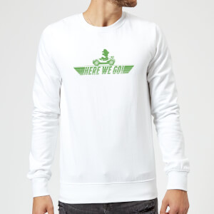 Sweat Homme Mario Kart Here We Go Luigi - Nintendo - Blanc