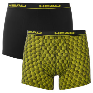 Head Men's 2 Pack Honeycomb Print 2 Pack Boxers - Yellow/Black