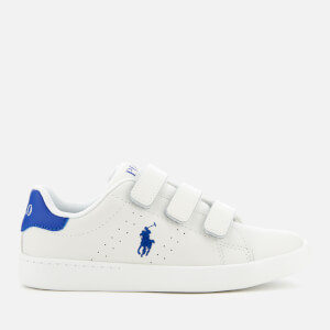 Polo Ralph Lauren Kids' Quilton EZ Leather Velcro Trainers - White/Royal