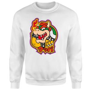Sweat Homme Super Mario Kanji Bowser - Nintendo - Blanc