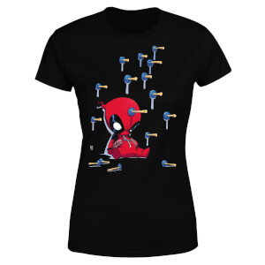 Marvel Deadpool Cartoon Knockout Women's T-Shirt - Black