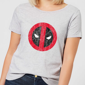 Marvel Deadpool Cracked Logo Women's T-Shirt - Grey