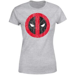Marvel Deadpool Cracked Logo Women's T-Shirt - Grey